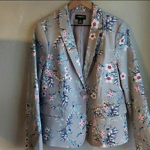 Liz Claiborne Gray Floral Blazer Sz L